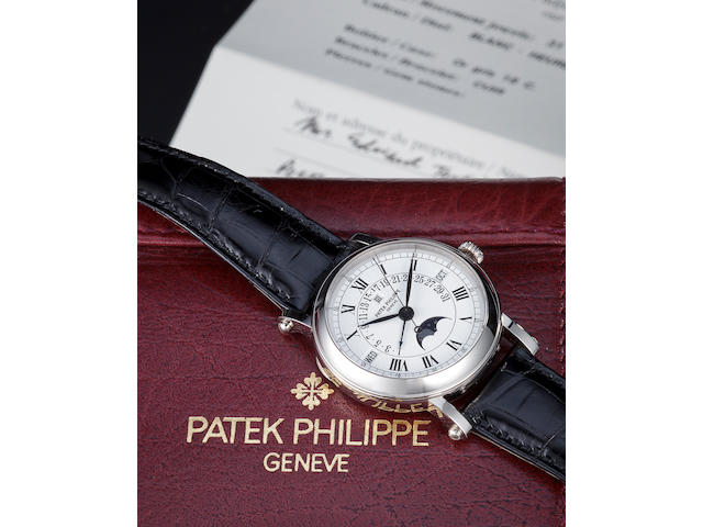 Patek Philippe. A fine white gold automatic center seconds wristwatch with retrograde perpetual calendar and moon phasesRef:5059G-001, Case no. 4066529, Movement no. 1957949, sold 1999