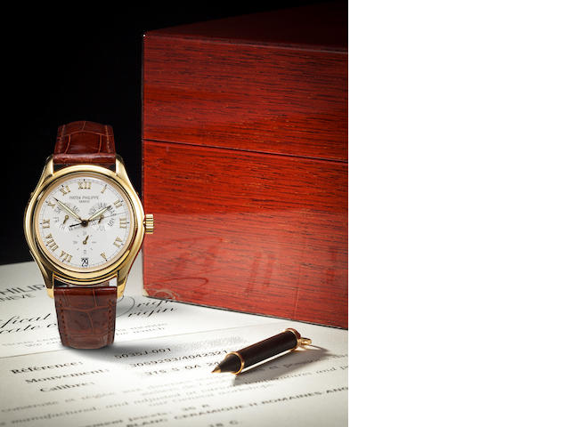 Patek Philippe. A yellow gold wristwatch with annual calendar, Ref. 5035j.