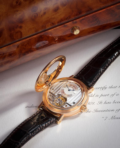 "Breguet. A very fine 18K rose gold commemorative half hunter cased tourbillon wristwatchRef.1801, ""Grande Complication – Tourbillon 1801 – 2001"", No. 834"