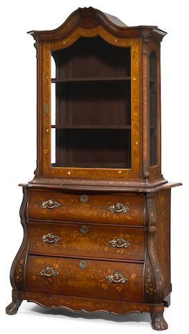 A Dutch Rococo marquetry inlaid walnut cabinet