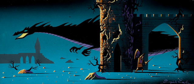 An Eyvind Earle concept painting from Sleeping Beauty
