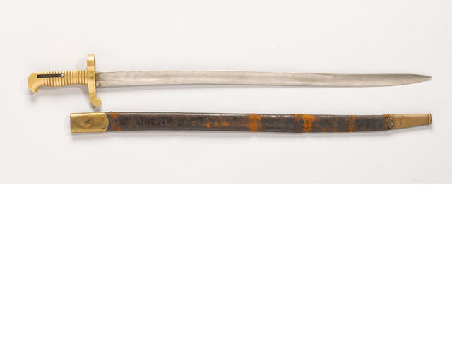 A saber bayonet and scabbard for the U.S. Model 1841 Mississippi rifle