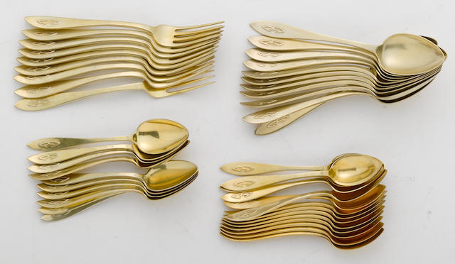 A sterling-gilt partial flatware set Shreve & Co., San Francisco, CA  Buckingham, with applied monogram: B (Bothin)