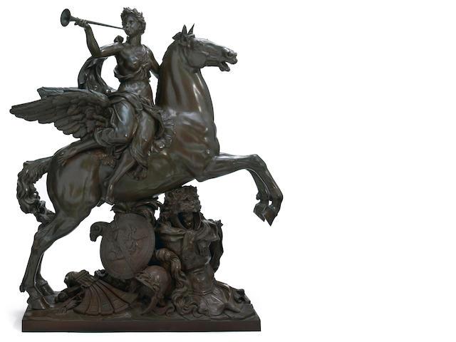 A French patinated bronze figural group: La Renommée Monté sur Pégase <br>after a model by Antoine Coysevox (French, 1640-1720)<br>third quarter 19th century