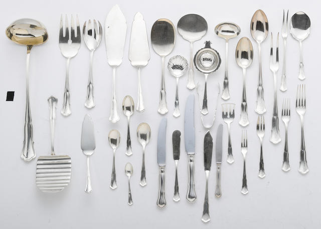 A German sterling flatware set M. H. Wilkens & Sohne, Bremen-Hemelingen, second quarter 20th century  # 516, monogrammed: H