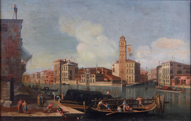 Italian School, 19th Century The Grand Canal at San Geremia  16 x 25in