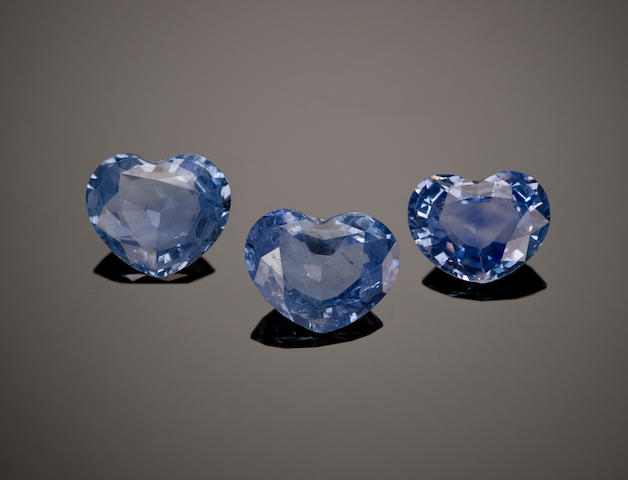 Group of Three Sapphires