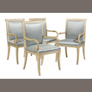 A set of four Neoclassical style painted armchairs