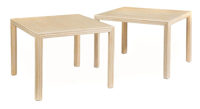 A pair of McGuire bleached wood low tables