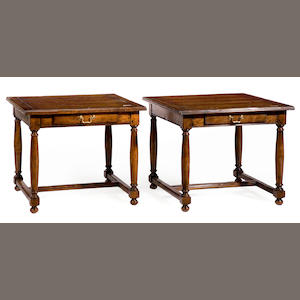 A pair of Baroque style mixed wood end tables