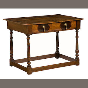 A William and Mary walnut and oak occasional table