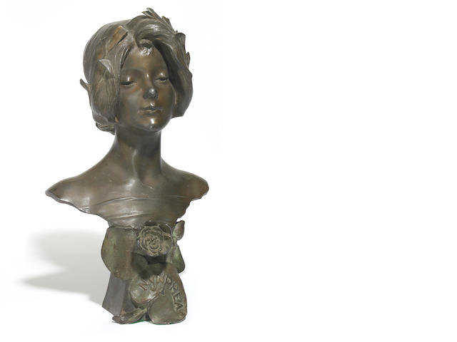 A French Art Nouveau bronze bust of a young woman <BR />circa 1900