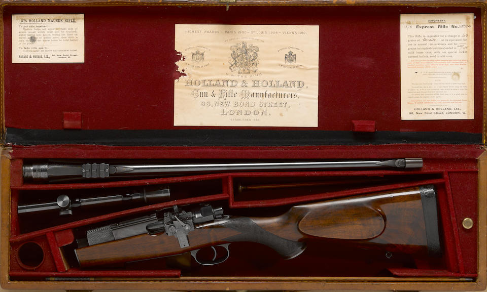 A cased Holland & Holland bolt action takedown sporting rifle