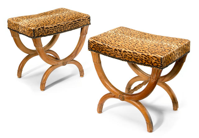 A pair of Continental Neoclassical style fruitwood stools  19th century