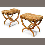 A pair of Continental Neoclassical style fruitwood stools <BR />19th century
