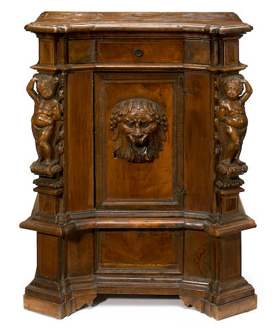 An Italian Renaissance inlaid walnut cupboard  incorporating antique and later elements