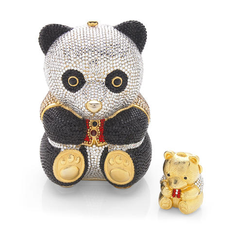 A crystal panda bear minaudiere with a red and gold crystal vest together with a bear pillbox, Judith Leiber
