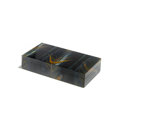A rare blue Tiger's Eye Quartz Intarsia box