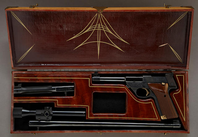 A Hi-Standard Supermatic Trophy semi-automatic pistol cased and customized by Von Dutch