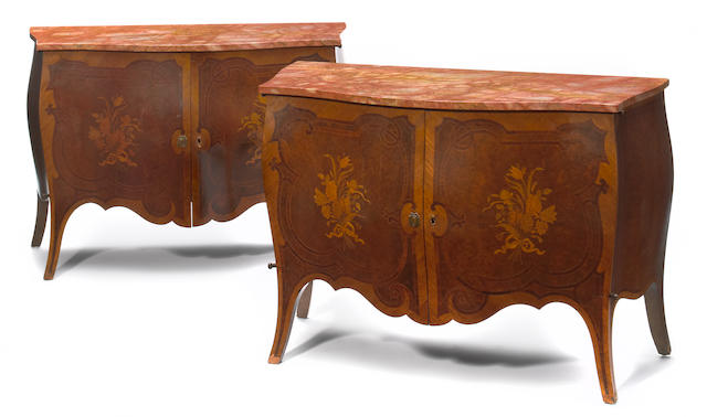 A pair of Louis XV style marquetry inlaid burl walnut commodes