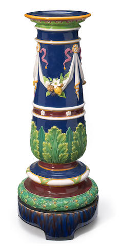 A Continental majolica pedestal <BR />late 19th century