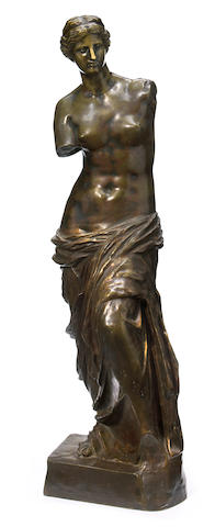 A French patinated bronze figure of Venus