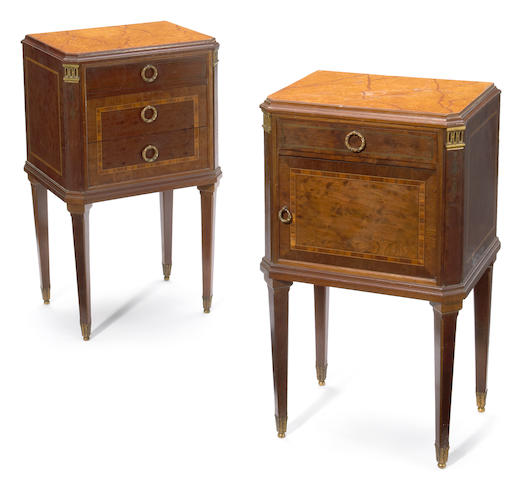 A pair of Louis XVI style gilt bronze mounted inlaid mahogany petite commodes