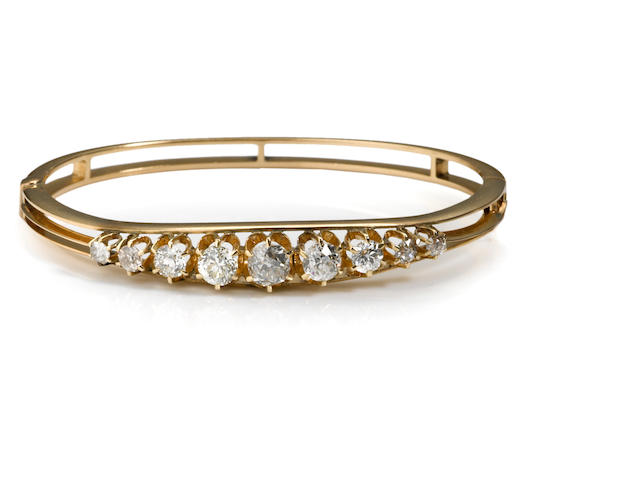 An antique diamond bangle bracelet,