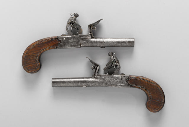A pair of English flintlock screwbarrel pistols by Charles Jarvis
