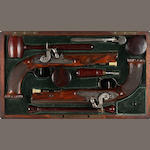 A cased pair of rifled Liegoise percussion conversion pistols