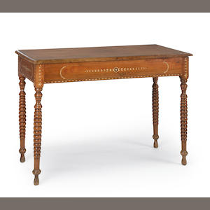 A Neoclassical style padouk and bone inlay side table late 19th century