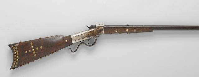A brass-tacked Marlin-Ballard No. 1 1/2 Hunter's rifle