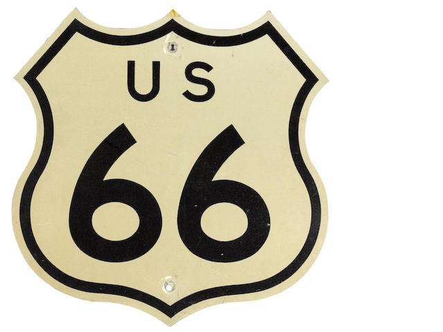 An original U.S. Route 66 sign, 1958,