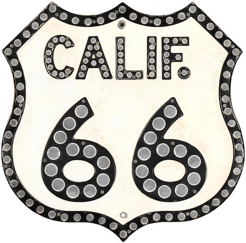 An original 'reflecting' California US Route 66 sign,