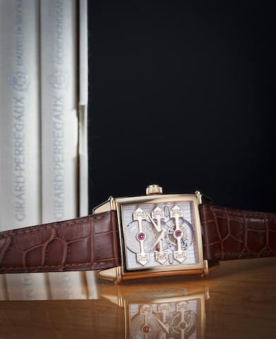 "Girard Perregaux. A rose gold wristwatch with three bridge tourbillon, ""Vintage 1945"", Ref. 9987, No. 290R."