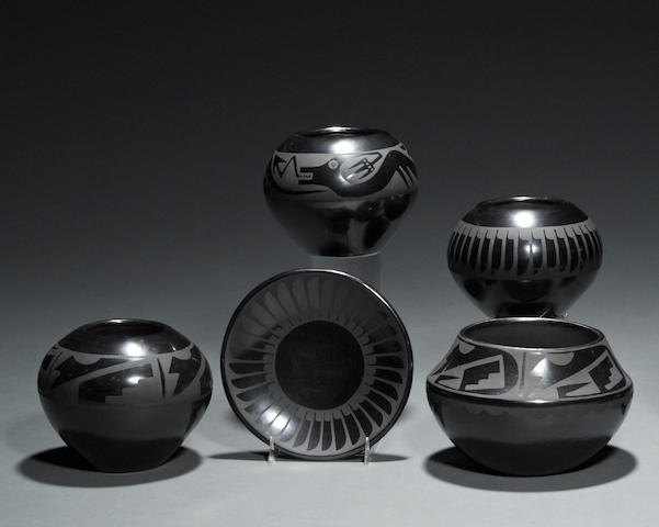 Five San Ildefonso blackware vessels