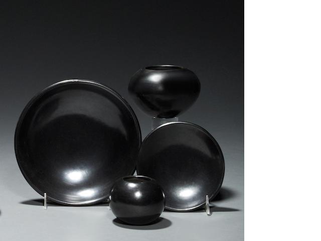 Four San Ildefonso blackware vessels