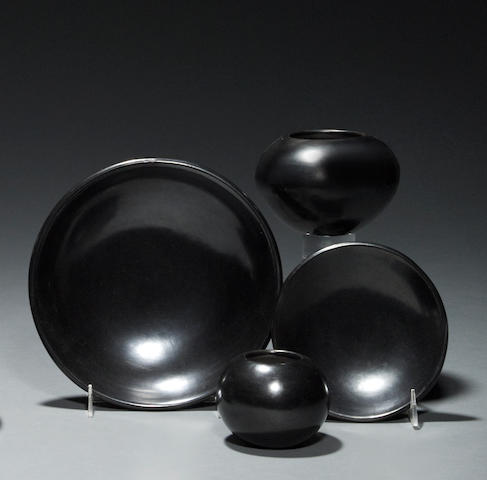 Four San Ildefonso blackware vessels