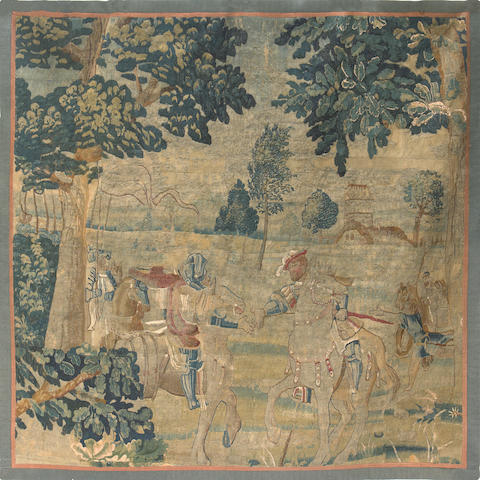 A Flemish Baroque tapestry fragment  early 18th century