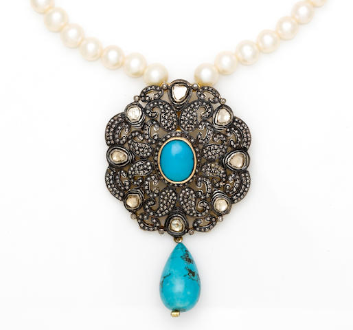 A turquoise, diamond and freshwater cultured pearl necklace
