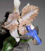 "Gemstone Sculpture—""Orchid and Hummingbird"""