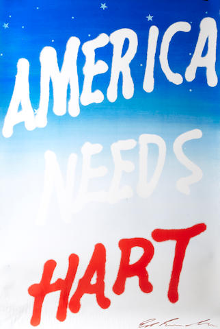 Edward Ruscha (American, born 1937); 8 Posters of 'America Needs Hart'; (8)