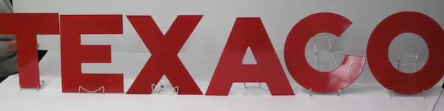 A set of original Texaco porcelain letters, circa 1955,