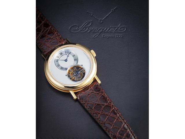 Breguet. A fine 18K gold wristwatch with tourbillonClassique, Ref:5357, Movement No. 1276, Watch No. 4117