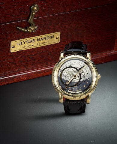 "Ulysse Nardin. A yellow gold ""Astrolabium"" wristwatch."