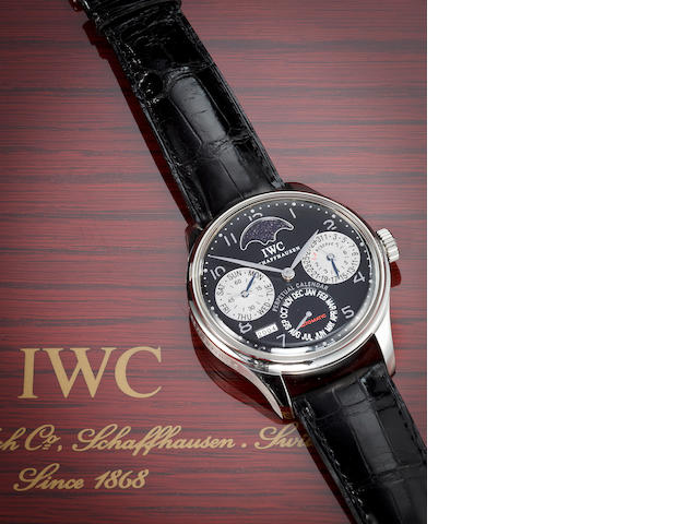 IWC. A fine stainless steel limited edition automatic seven day wristwatch with perpetual calendar and moon phasesPortuguese Perpetual Calendar Cellini, Ref:5021, Case no. 2917782, Movement no. 2907143
