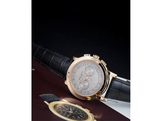 Patek Philippe. A fine 18K rose gold chronograph wristwatch with register and tachymeterRef:5070R, Case no. 4281156, Movement no. 3362226