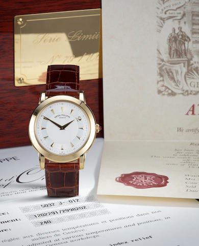 Patek Philippe. A fine 18K gold limited edition commemorative automatic wristwatchMillennium, Ref:5032J, Case no. 2998202, Movement no. 1202291, No. 79 of 100, Sold 20 December 1999