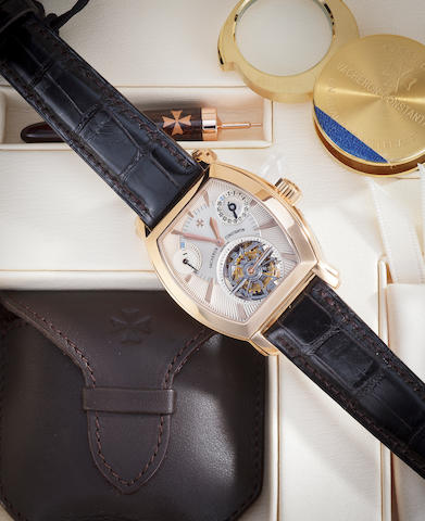 Vacheron & Constantin. A fine 18K rose gold tourbillon wristwatch with date and power reserveMalte Tourbillon Tonneau, Ref:30066/2, Case no. 775013, Movement no. 953157