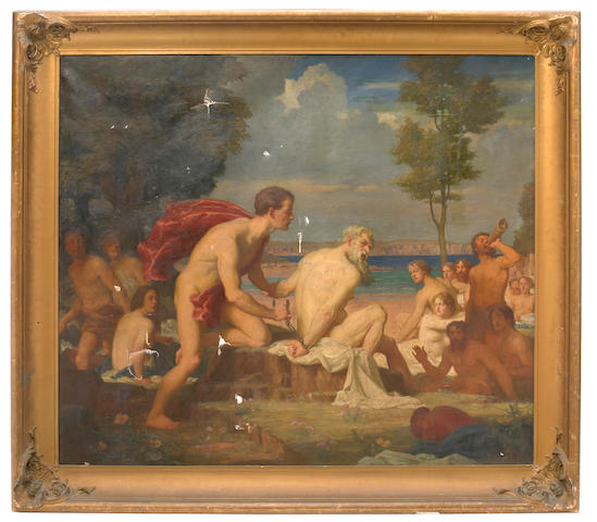 John Percy Cooke (British) Aristaeus and Proteus 50 x 58 1/4in